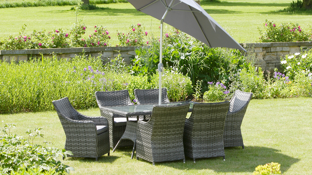 HERITAGE PACIFIC RETANGULAR MIXED GREY 9 PIECE GARDEN FURNITURE PATIO SET 1481