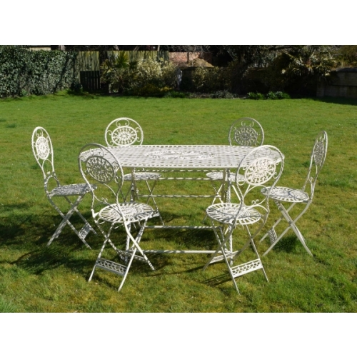 Wrought Iron Large Table 6 Chairs â, White Wrought Iron Garden Furniture Uk