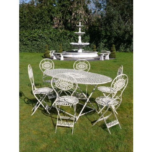 Wrought Iron Large Table & 6 Chairs – Country Cream
