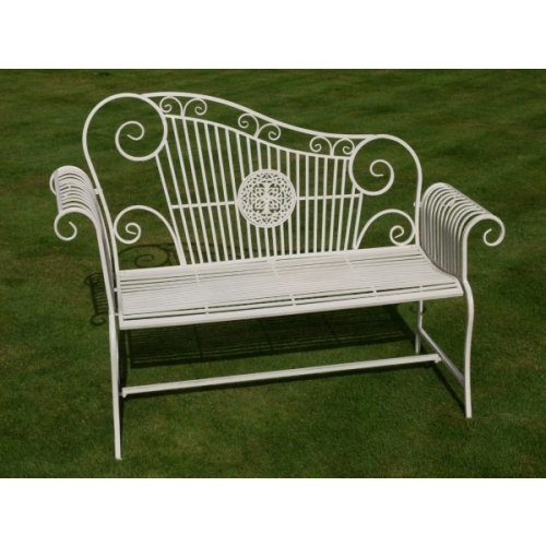 Wrought Iron Scroll Bench – Cream