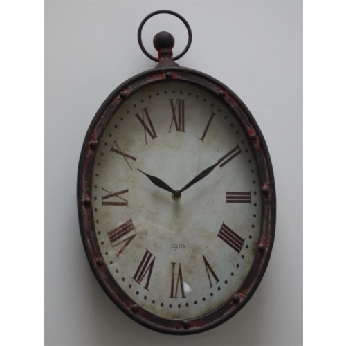 Shabby chic metal oval wall clock. 2180