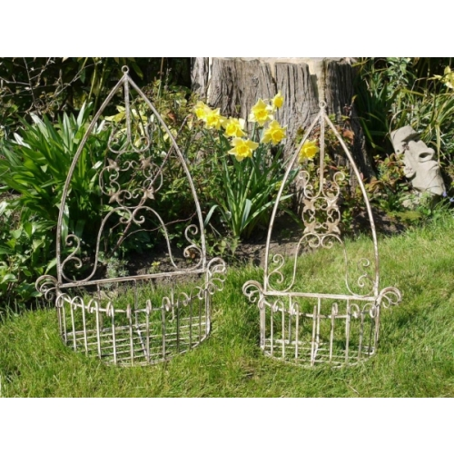 2x RUSTIC ORNATE WALL TROUGHS FLOWER BASKET/PLANTERS GARDEN (2356)