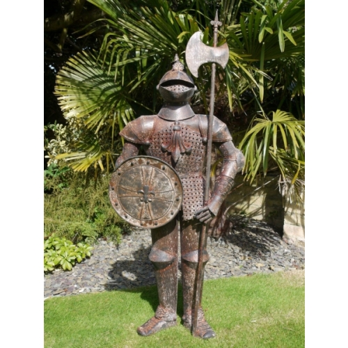 Indoor/Outdoor/Garden mediumMetal/Rusty Finish Suit Of Armour Knight Statue 2383