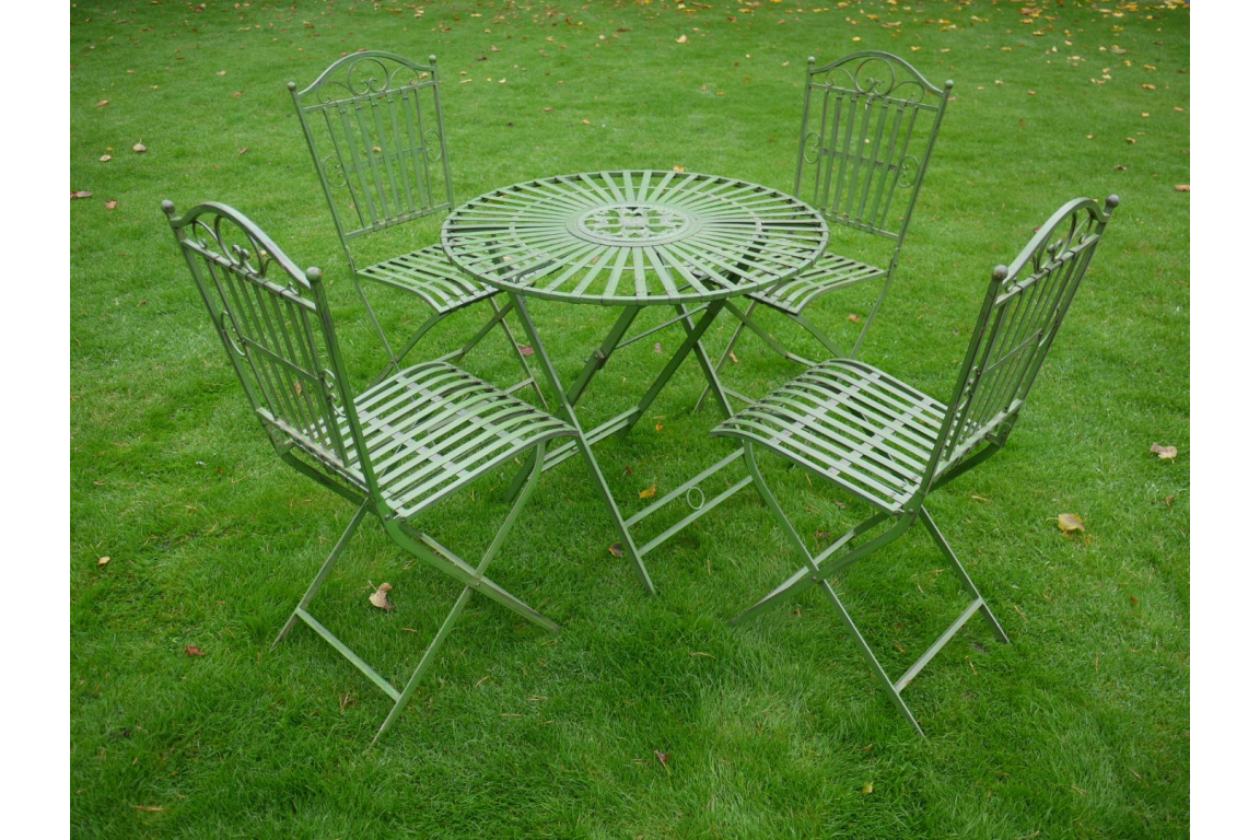 Wrought Iron Table and 4 Chairs (2405)