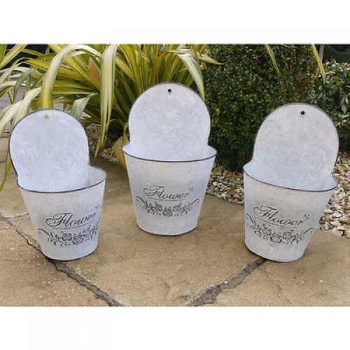 Galvanized Metal Wall Hanging Plant Pots Planter set of 3 Flowers (2631)