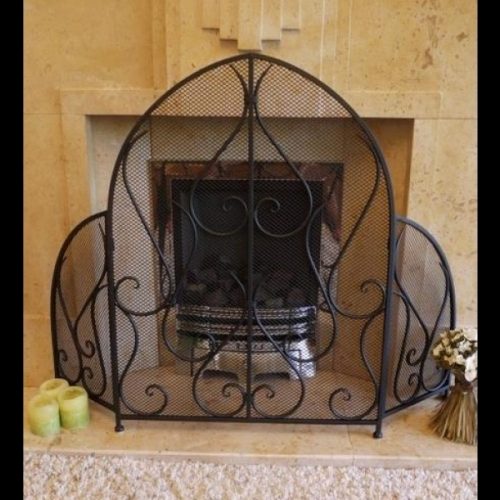 black Gothic arched fire guard