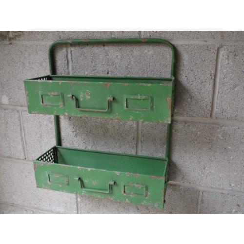 Industrial Style Metal Garage Storage Unit Shelving / Planter Aged Green 3007