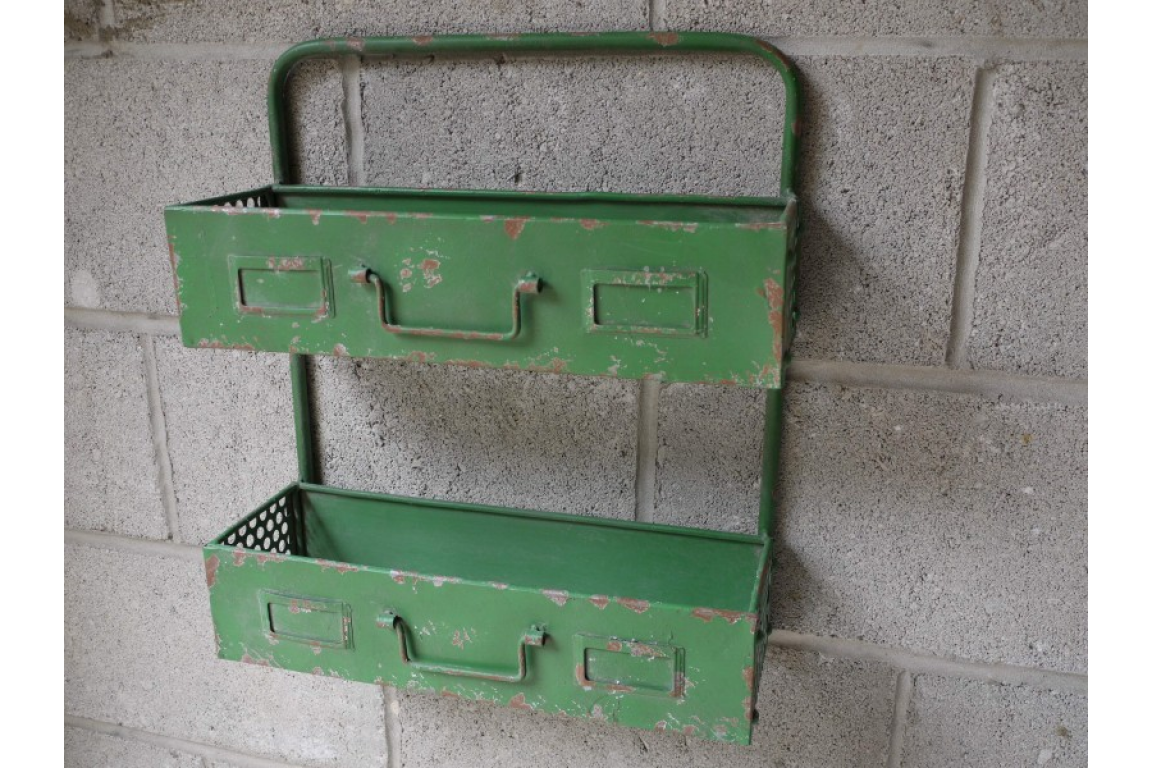 Rustic Shabby Green Wall Unit