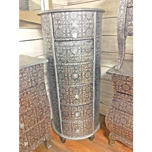 SILVER CHIC FRENCH METAL FURNITURE EMBOSSED 6 DRAW TALL BOY 3079