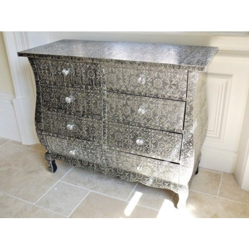 BLACKENED SILVER METAL FURNITURE EMBOSSED MIRRORED 6 DRAW CHEST OF DRAWS 3083