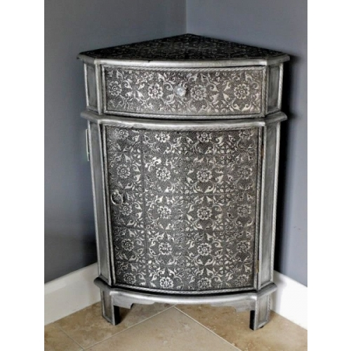 Blackened Silver Embossed, Chic French Corner cabinet storage unit 3235