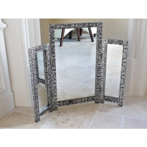 STUNNING SILVER CHIC FRENCH METAL FURNITURE EMBOSSED DRESSING TABLE MIRROR 3243