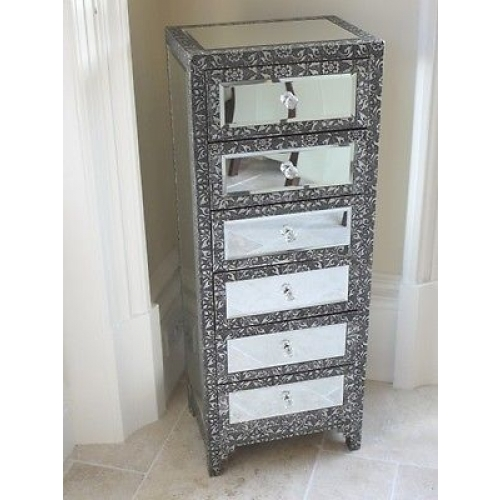 SILVER CHIC FRENCH METAL FURNITURE EMBOSSED MIRRORED 6 DRAW TALL BOY 3247