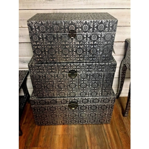Stunning Set 3 blackened Silver Embossed Storage Blanket Box Chest,Trunks 3249