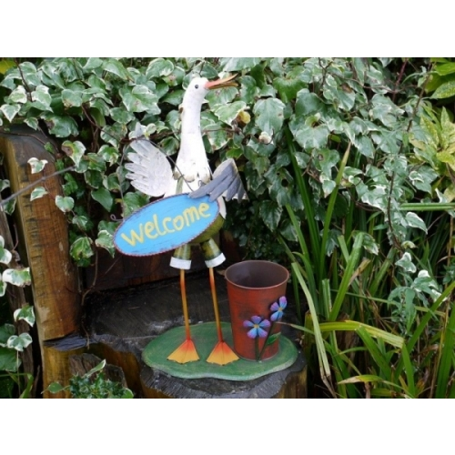 Handmade Colourful finish Colour Happy Duck Welcome Sign Planter Figure (3312)
