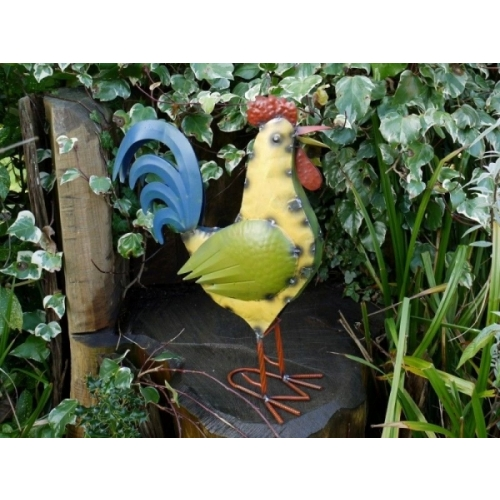 Metal Handmade Multi Colour Cockerel Home Shop Display Or garden Ornament (3317)