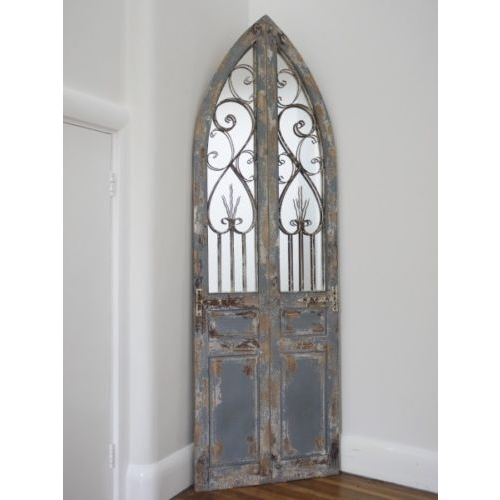 BEAUTIFUL RUSTIC WROUGHT IRON & WOODEN DOOR STYLE GARDEN MIRROR LARGE (3377)