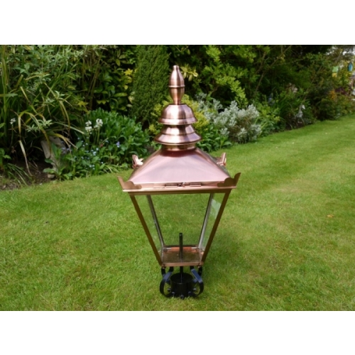VICTORIAN LANTERN LAMP POST TOP IN STAINLESS STEEL IN BRUSHED COPPER FINISH 3529
