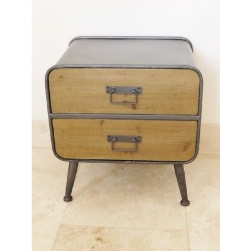 STUNNING WOODEN AND METAL URBAN RETRO / VINTAGE SMALL CABINET WITH 2 DRAWS 3686