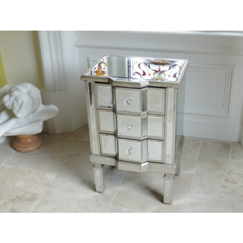 Stunning Silver Venetian Glass Mirrored Bed Side Table With 3 Draws 3694