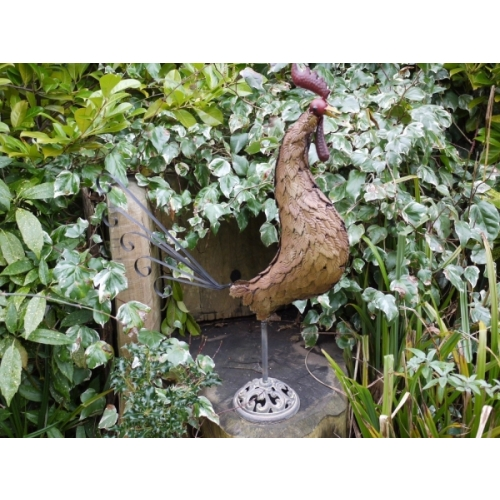 Stunning Tin Metal Outdoor Garden Ornament Metal Cockerel 3748