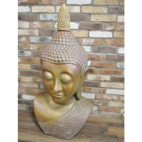 LOVELY GIANT BUDDHA HEAD RESIN STATUTE / HOME OR GARDEN ORNAMENT (3876)