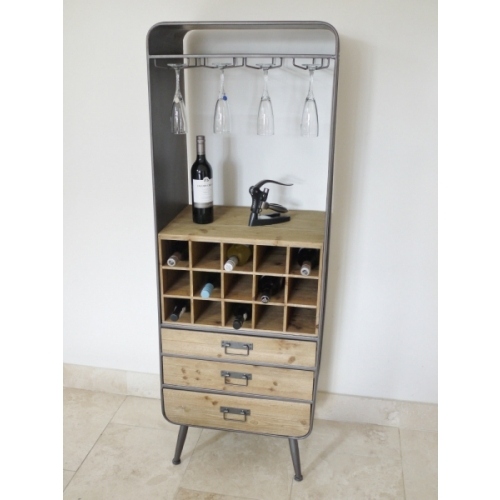 Vintage Industrial Metal wine rack Retro style Storage Furniture 3957