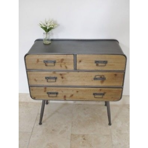 STUNNING WOODEN AND METAL URBAN RETRO / VINTAGE CABINET WITH 5 DRAWS 3989