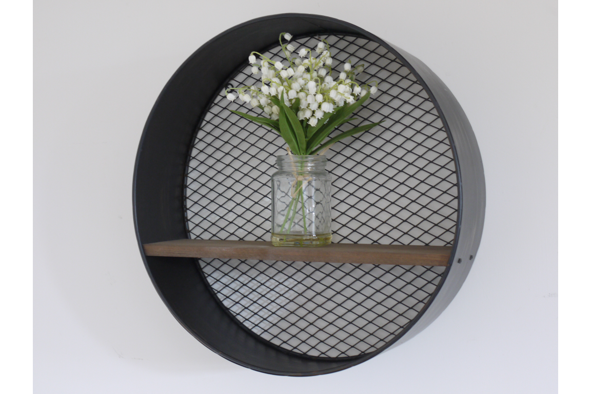 Round Metal Unit with Wooden Shelf