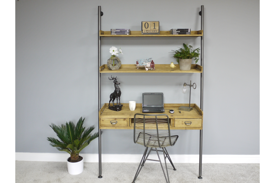 Light Wood Desk with Shelf