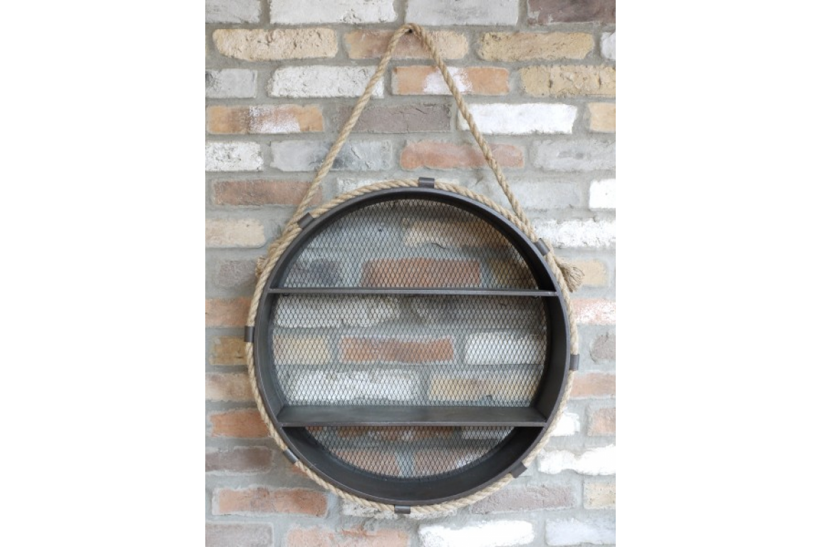 Round Metal Shelving Unit with Rope Trim