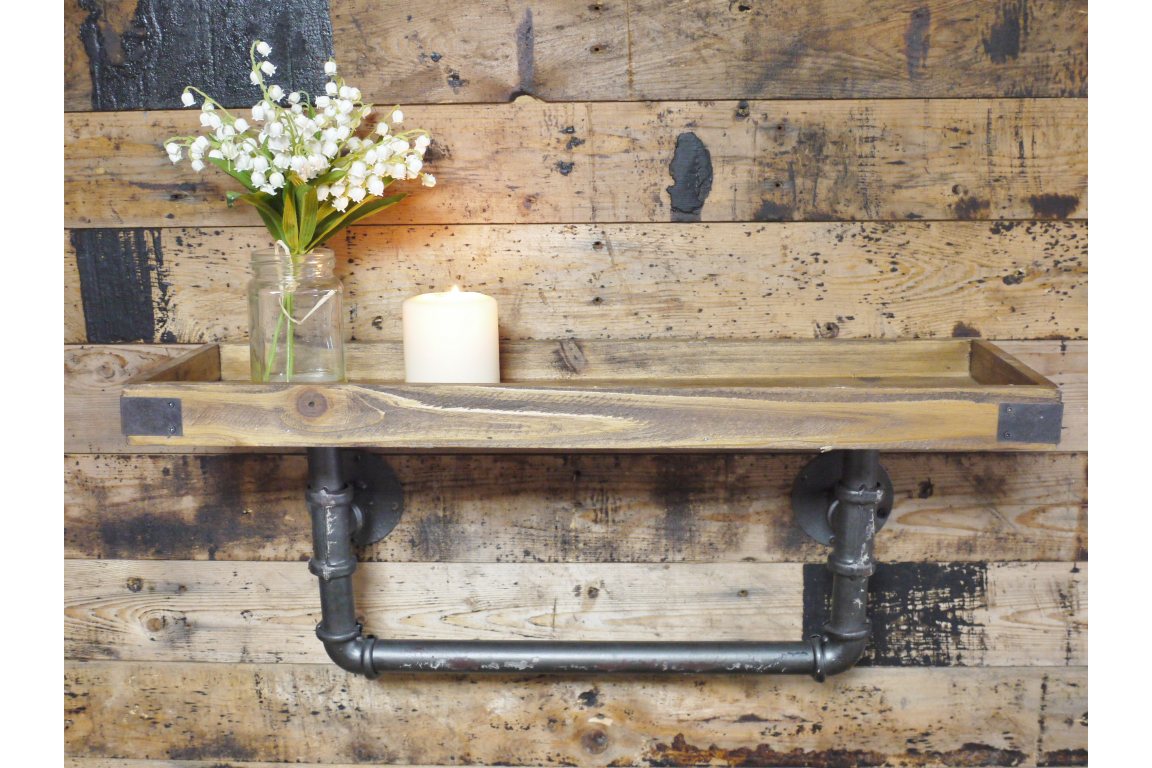 Vintage Style Wood & Metal Shelf