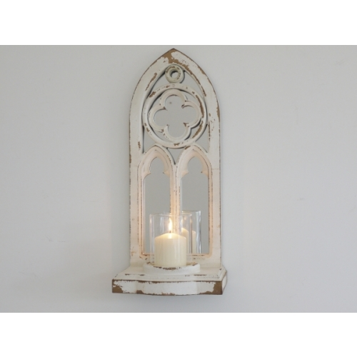 AGED FINISH METAL ARCHED MIRROR WITH CANDLE HOLDER 4599