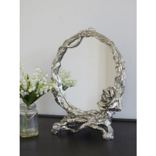 Champagne Silver Gilt Rose Bevelled Decorative Wall Bedroom Mirror 4603