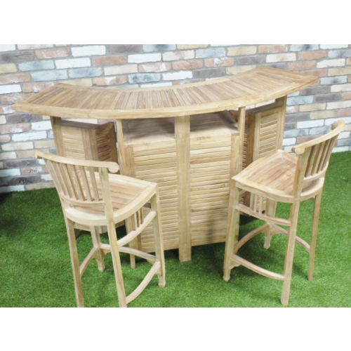 STUNNING HAND MADE SOLID TEAK GARDEN BAR IDEAL FOR BBQ'S COMES WITH 2 BAR STOOLS