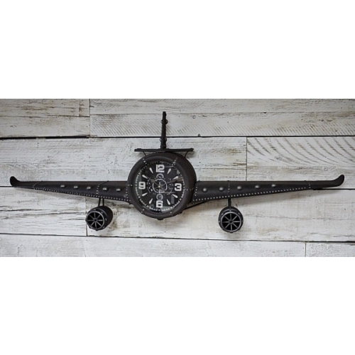 Stunning Large Vintage aeroplane Wall clock Metal Novelty Retro Timepiece 5029