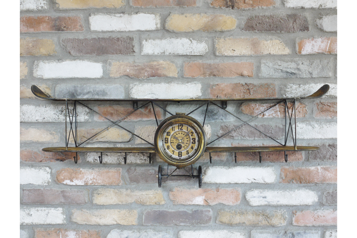 Bronze Antique Style Aeroplane Shelf and Clock