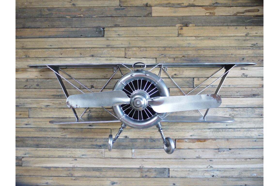 Silver Shabby Metal Aeroplane Shelf