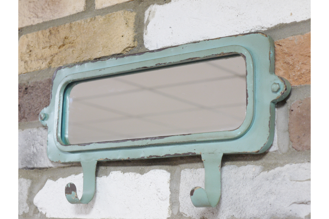 Green Rustic Wall Mirror with Hooks