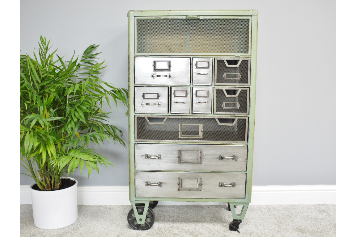 Industrial Rustic Large Green Cabinet on Wheels