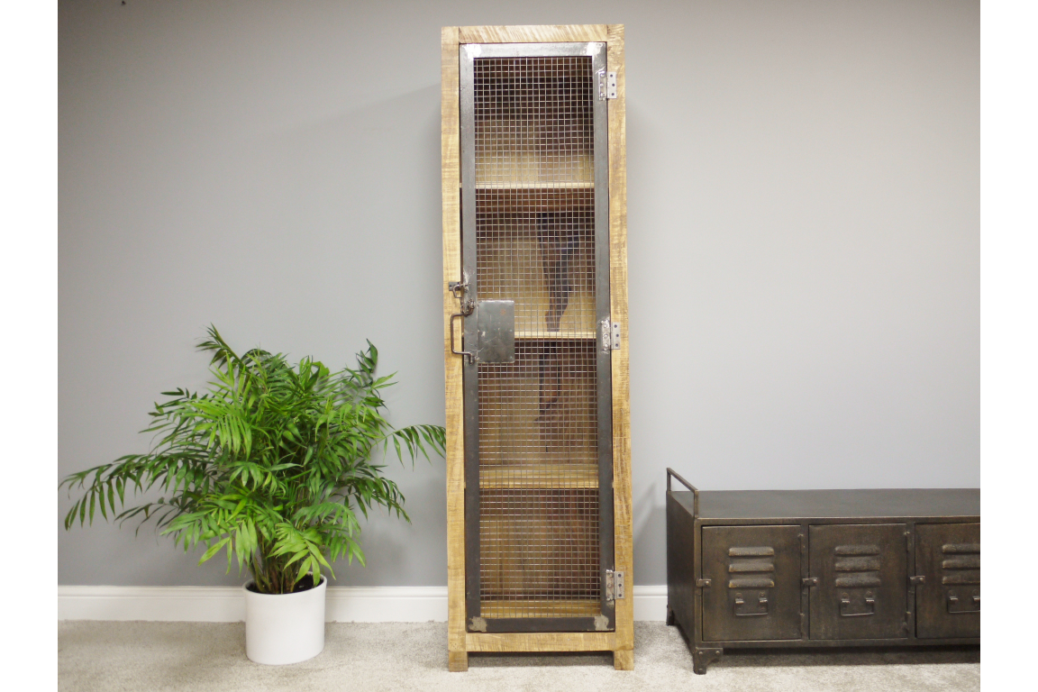 Tallboy Wood & Mesh Industrial Cabinet