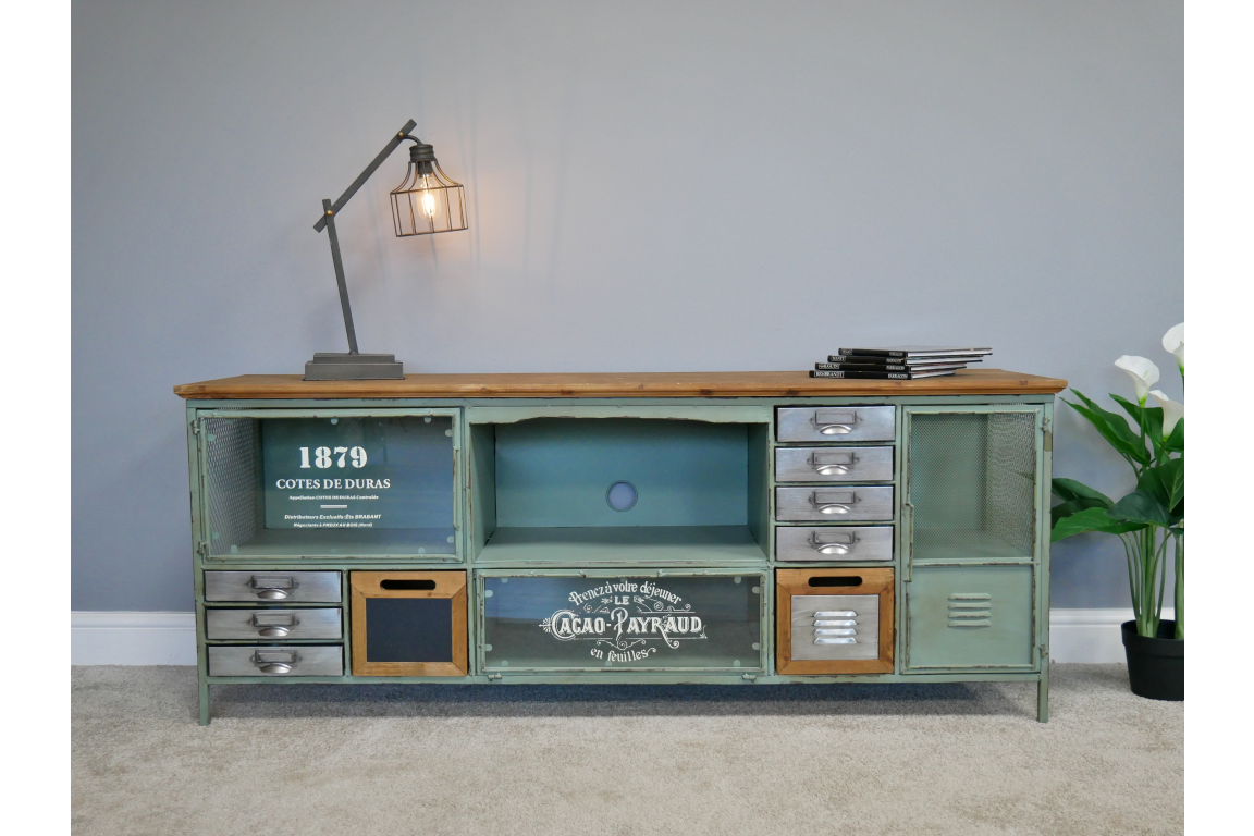 Industrial Green TV Cabinet