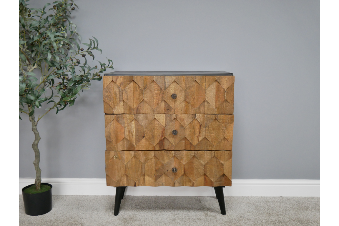 Patterned Wood Chest of Drawers