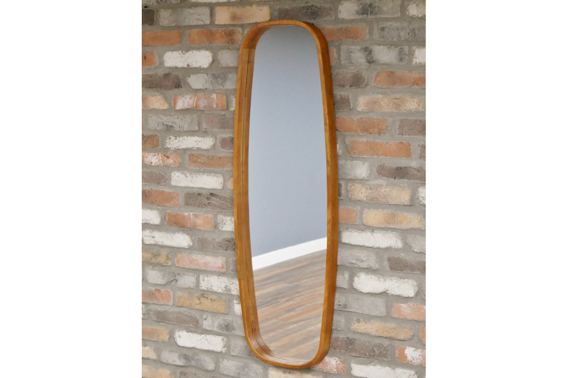 Long Oval Wood Frame Mirror