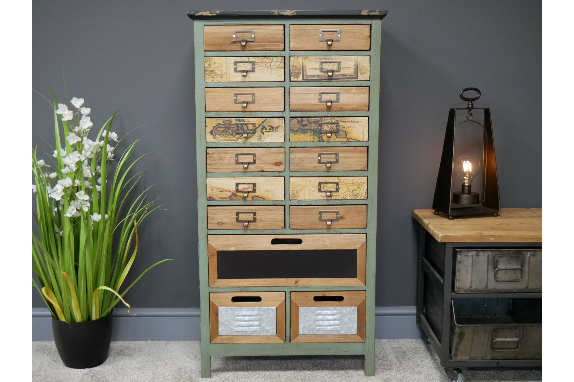 Industrial Rustic Imprinted Cabinet