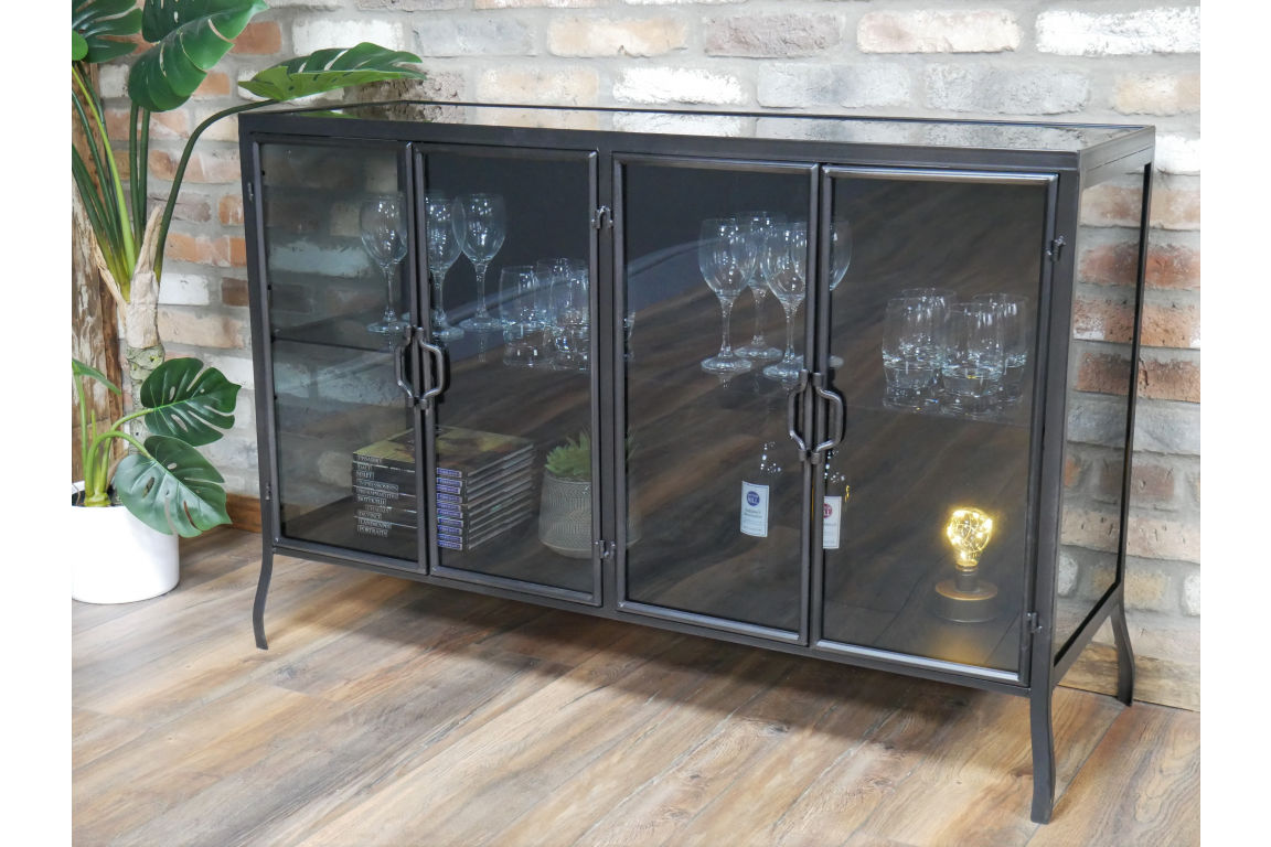 Darkened Glass Metal Cabinet