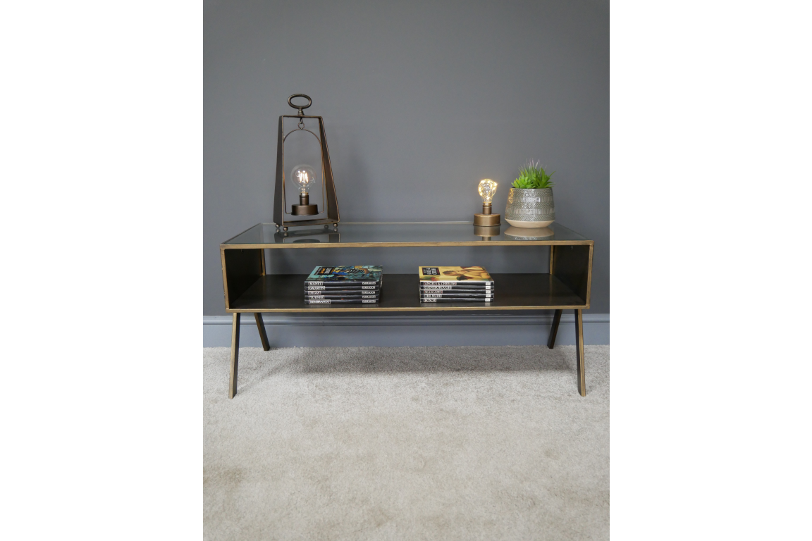 Metal Gold Trim Coffee Table with Glass Top