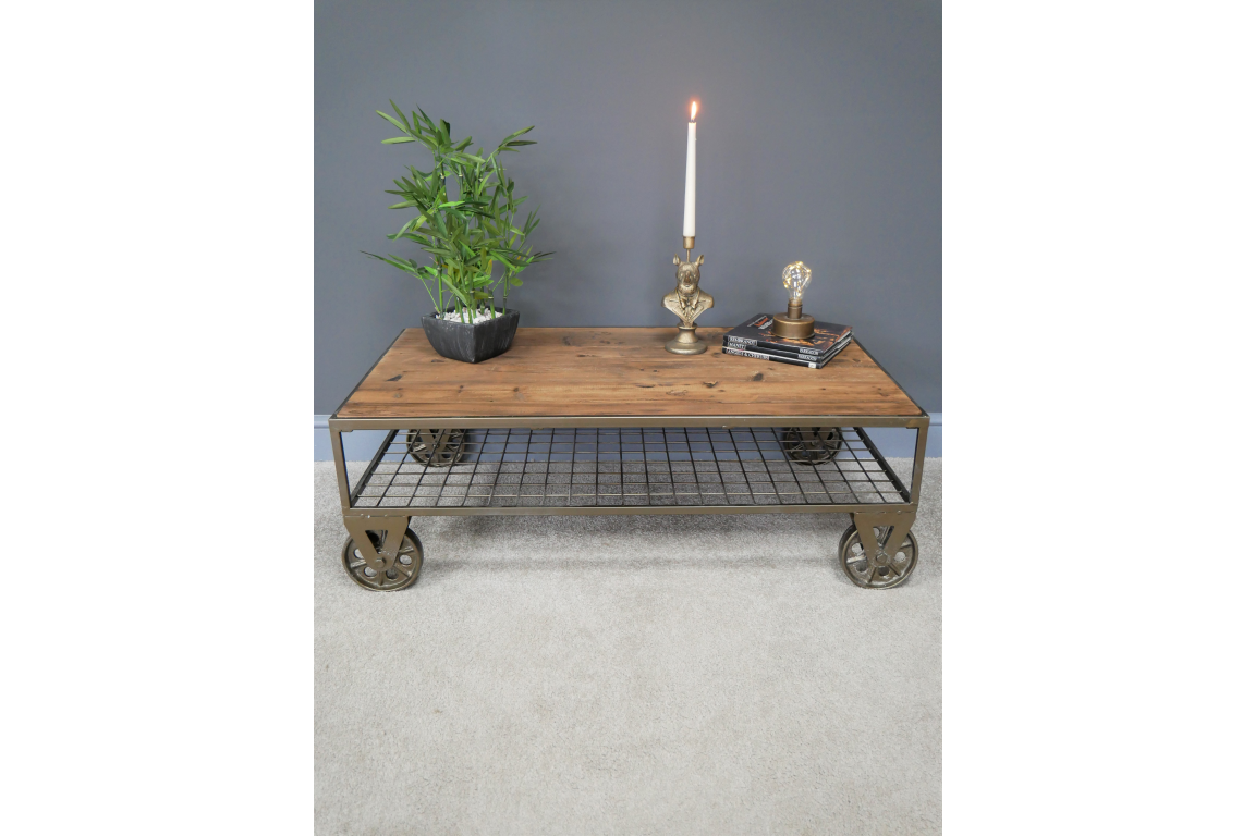 Industrial Naturally Aged Coffee Table on Wheels