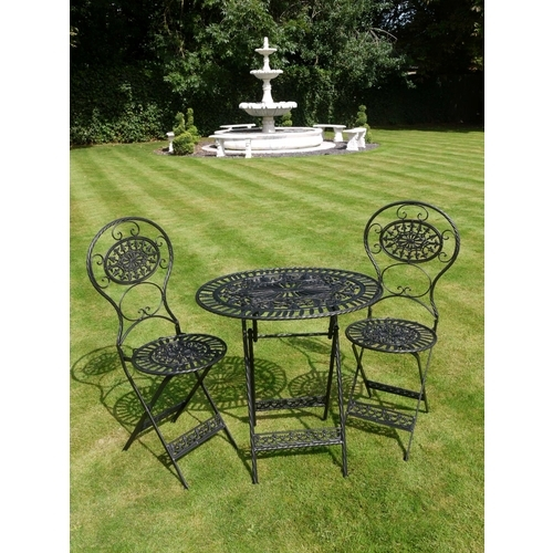 Wrought Iron Rustic Table & 2 Chairs - Black