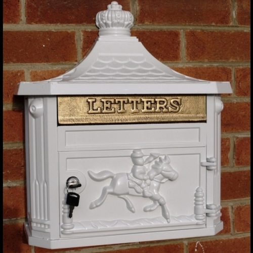 Cast Aluminium Wall Post/Letter Box - White Great for Wedding Cards